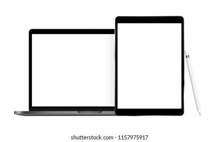 Laptop and tablet with stylus isolated on white background. Modern electronic devices with blank screens. Vector illustration