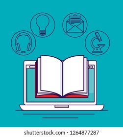 laptop technology with digital book knowledge