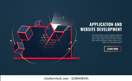 Laptop with technology elemets with cubes, software and website development, application started concept, website create, graphoc design 3d vector illustration