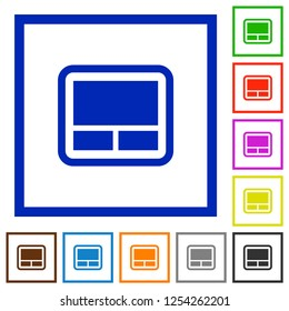 Laptop touchpad flat color icons in square frames on white background