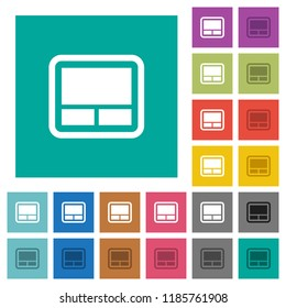 Laptop touchpad multi colored flat icons on plain square backgrounds. Included white and darker icon variations for hover or active effects.