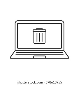 Laptop trash linear icon. Thin line illustration. Notebook with trashcan contour symbol. Vector isolated outline drawing