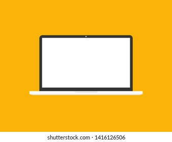 Laptop in trendy flat style with empty screen. Mock up template. Notebook with blank display. EPS 10