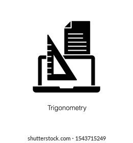 Laptop with triangular scale, online trigonometry icon in glyph design