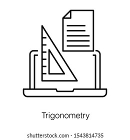 Laptop with triangular scale, online trigonometry icon in line design