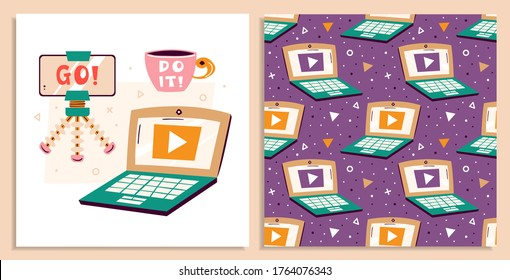 Laptop , tripod, smart phone, cup, play button. Blogger items. Making video in studio. Media content production. Podcast, stream, channel. Flat vector seamless pattern, texture, backdrop. Card making.