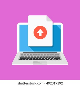 Laptop and upload file icon. Document uploading concept. Flat design graphic with long shadow. Vector illustration