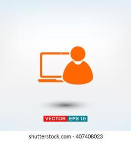 laptop, user icon. One of set web icons