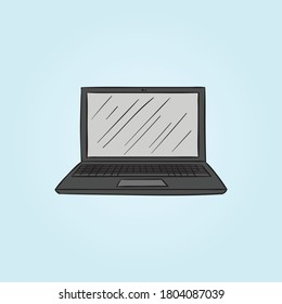 Laptop Vector Icon, Notebook vector. Hand drawn doodle laptop vector illustration. Computer retro illustration isolated. Hand drawing laptop