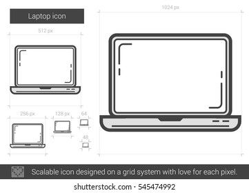 Laptop vector line icon isolated on white background. Laptop line icon for infographic, website or app. Scalable icon designed on a grid system.