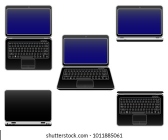 Laptop vector, notebook set, technology concept, isolated on white