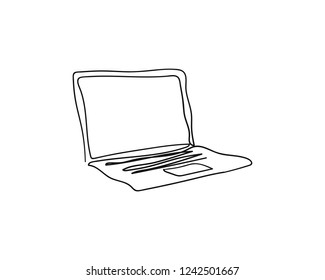 Laptop vector with one continuous single line art drawing.