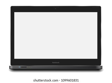 Laptop vector realistic ilustration with 11.6 inch 16:9 white screen easy placing your screenshot