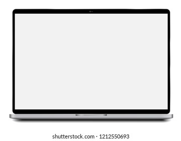 Laptop Vector realistic Ilustration with real size 15.4 inch 16:10 2880x1800 pixel resolution screen easy pasting screenshot