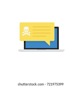 Laptop with Virus Alert Notification, Malware Detection Concept, Virus Protection
