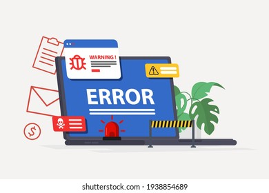 Laptop virus alert. System error warning on a laptop. Emergency alert. Scanning for malware, virus, scam, or bug with a magnifying glass. Antivirus concept. Illustration of internet virus malware
