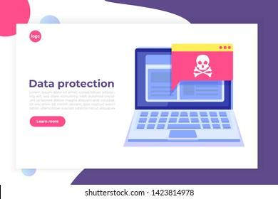 Laptop virus malware trojan notification or alert. Hacker attack, Data Protection vector concept.