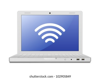Laptop and wireless network. Wireless concept. Vector illustration of laptop and wireless technology