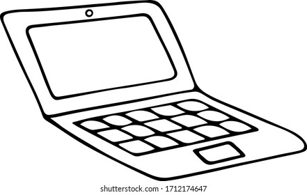 A laptop for work or study. Portable personal computer. Electronic device. Vector illustration. Outline on an isolated background. Doodle style. Sketch. Place for text on the screen. Smart technology.