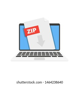 laptop and zip archive vector in flat style
