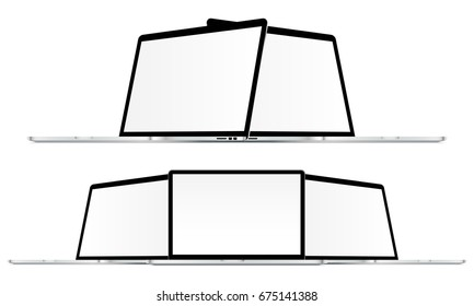 Laptops Macbook Pro mockups in different positions. Notebook with blank screen isolated. Vector illustration