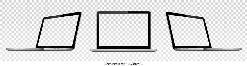 Laptops with transparent screen isolated on transparent background. Perspective and front view with blank screen.