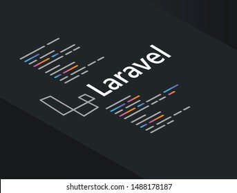 Laravel framework programming language coding software technology vector illustration