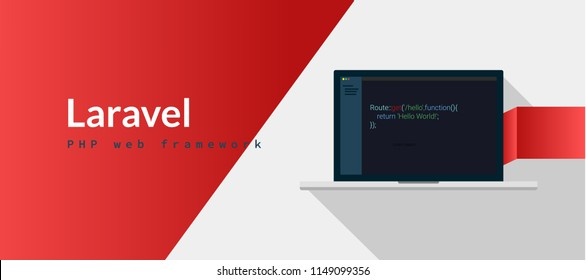 Laravel PHP Framework programming language with script code on laptop screen, programming language code illustration