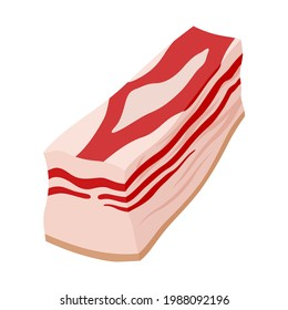 Lard, salo piece cartoon icon. Pork, pig fillet. Animal source high-fat food clipart. Ham, gammon, silverside, bacon. Butchery fresh product. Meaty vector illustration isolated on white background.