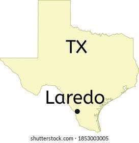 Laredo city location on Texas map