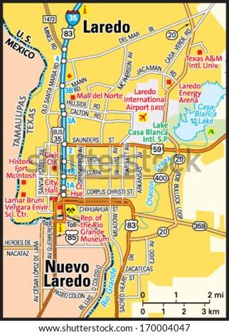 Map Of Texas Showing Laredo.Laredo Texas Area Map Stock Vector Royalty Free 170004047