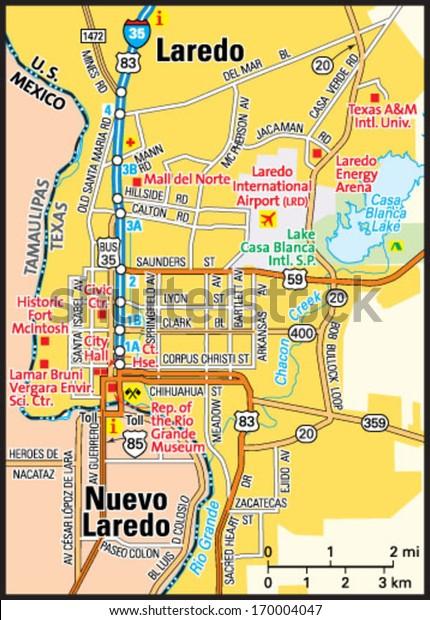 Map Of Texas Laredo.Laredo Texas Area Map Stock Vector Royalty Free 170004047