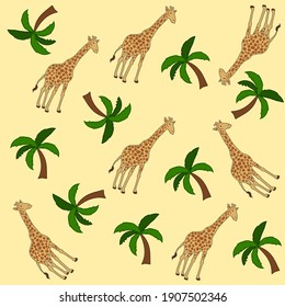 large African giraffe on a yellow background with palm trees for gift wrap paper