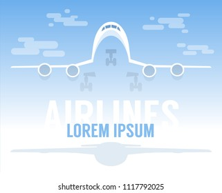 Large airliner flying up against the blue sky - template advertising poster for airlines