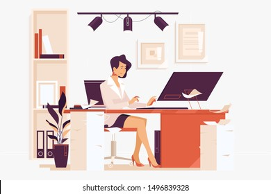 Large Amount of Work. Businesswoman sitting on her workplace in the office, typing, looking at pc screen.