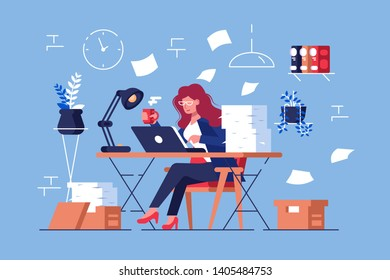 Large amount of work vector illustration. Busy overworked woman sitting at table with laptop and pile of papers in office flat style design. Workflow in full swing