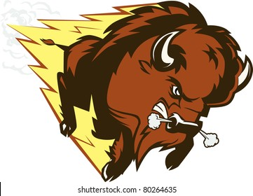 A large, angry, fast charging buffalo character