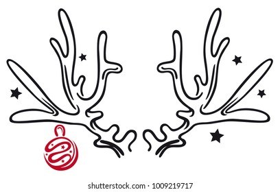 Large antler with stars and christmas ball.