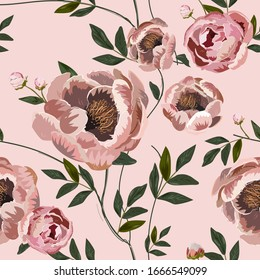 Large beige pink buds and peonies flowers surrounded by green leaves on a light blue background. Floral seamless pattern. Vector illustration with plants.