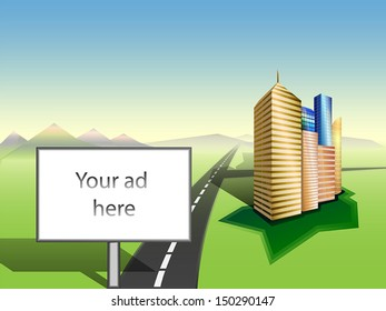 Large Billboard with white copy space. Cityscape. Grass. Road to mountains skyline.