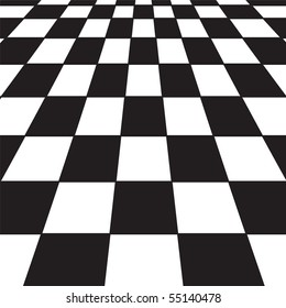 A large black and white checker floor background pattern
