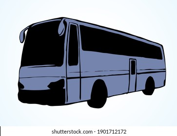 Large blank intercity charter schoolbus on light road text space. Outline black ink hand drawn school tire machine logo pictogram emblem design in art doodle print style on paper. Closeup side view