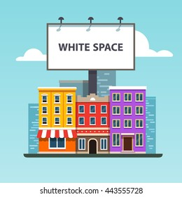 Large blank urban billboard with copy space text standing high over city street buildings. Flat style vector illustration template.