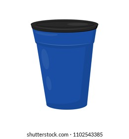 Large blue barrel with black lid. Plastic container for water or trash. Flat vector element for poster or banner