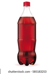 Large bottle of cola isolated on white background. Vector EPS-10