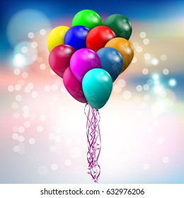 A large bundle of colored balloons flying into the air on a bright background. Vector illustration. Vector illustration.