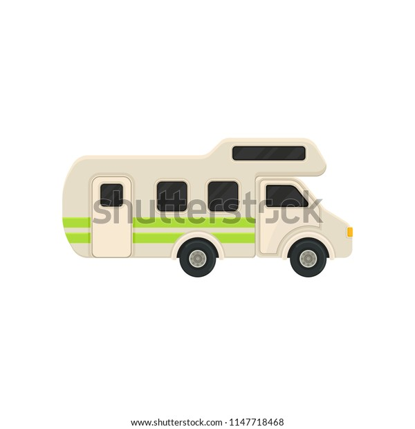 Large camper van with bright green stripes. Comfort home of wheels. Recreational vehicle. Flat vector design