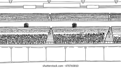 Large cartoon outline of stadium with diverse crowd under blank scoreboard signs