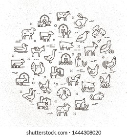 Large circular vector icon set of rural animals in linear style for logos, presentations and the web. Icons are isolated on shabby paper background.