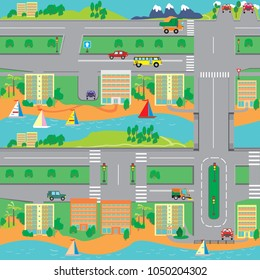 A large city with many houses, transport and roads of right-hand traffic. Vector  pattern.
